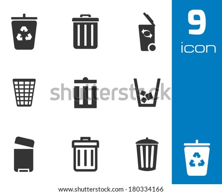 Trash Can Icons Set Stock Vector 21642747