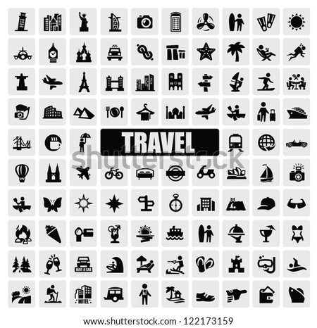 vector black travel and landmarks icons set