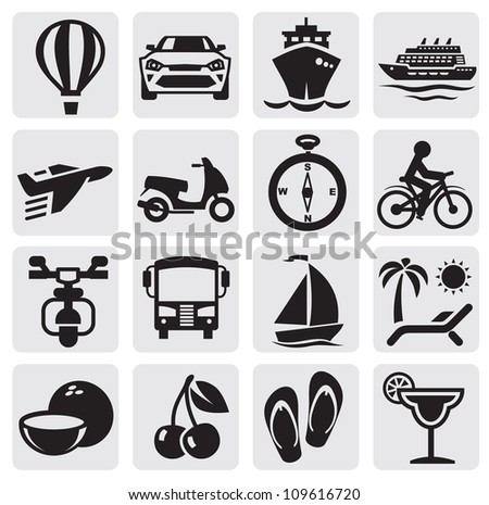 vector black travel icons set on gray