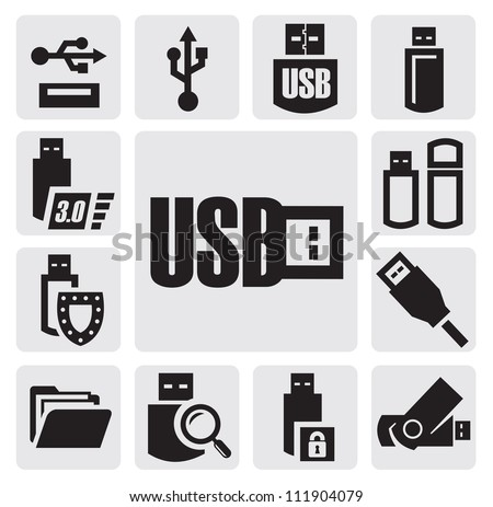 vector black usb icons set on gray