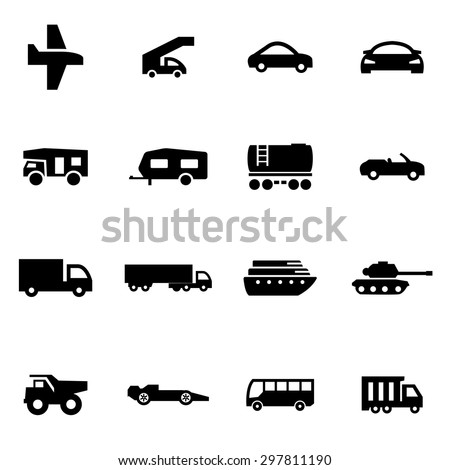 vector black vehicles icon set