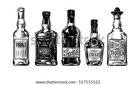 vector black vintage bottles of