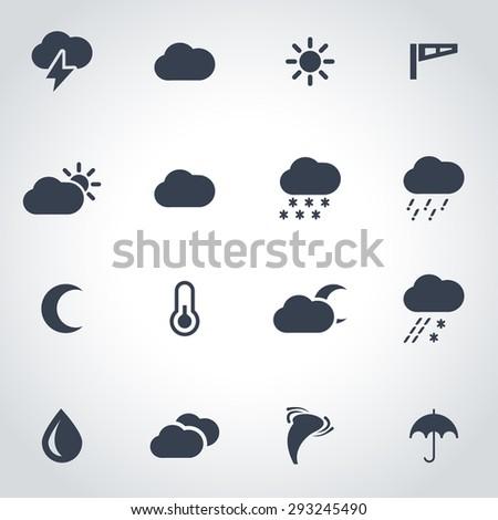 Vector black weather icon set.