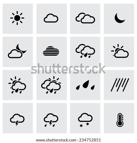 Vector black weather icon set on grey background