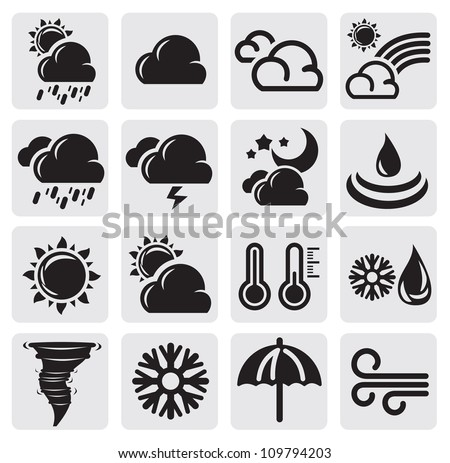 vector black weather icons on gray background