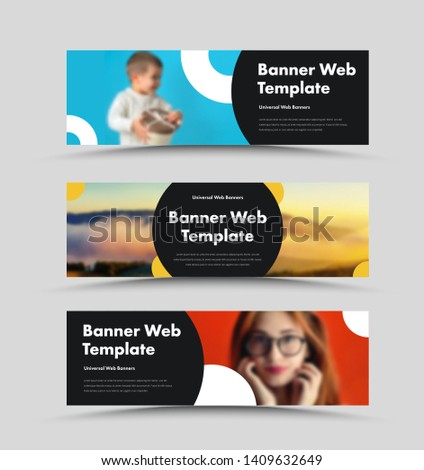 Vector black web banners design with place for photo and round elements. A standard size template with text. #1409632649