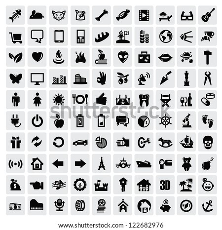vector black 100 web icons set on gray