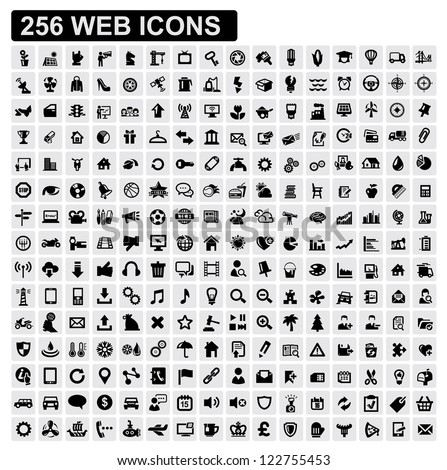 vector black 256 web icons set on gray - stock vector