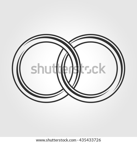Vector Black Wedding Rings Icon On White Background Ez Canvas