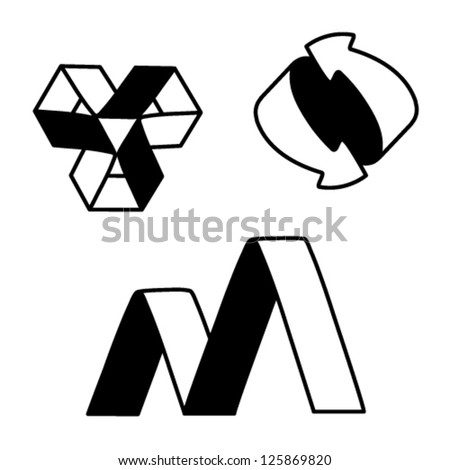Vector black white symbols - sign, icon, pictogram