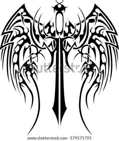 vector black wing blade tattoo
