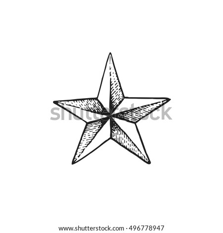vector black work tattoo dot art hand drawn engraving style star shape illustration isolated white background