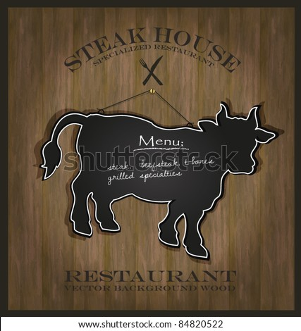 vector Blackboard cow bull restaurant menu card background wood - stock vector