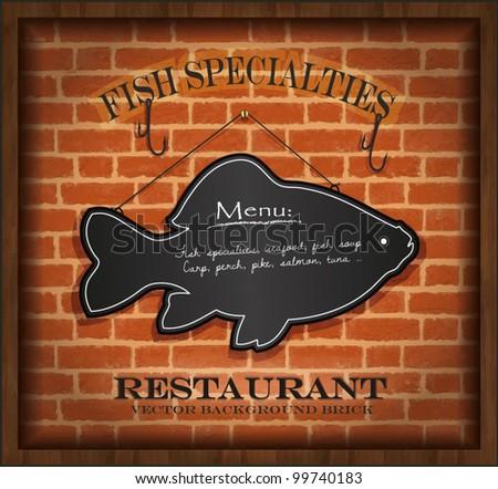 vector blackboard fish menu card brick wall background restaurant