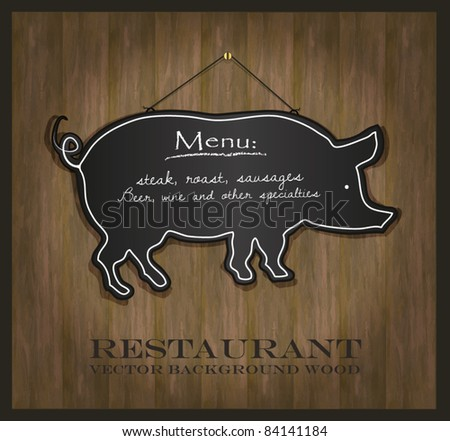 vector Blackboard pig restaurant menu card
