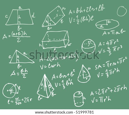 vector blackboard with mathematics formulas