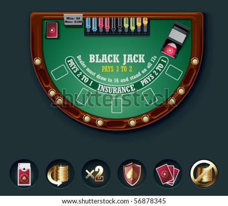 Vector blackjack table layout - stock vector