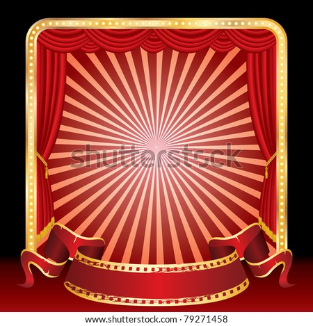 vector blank banner on stage with rays - stock vector