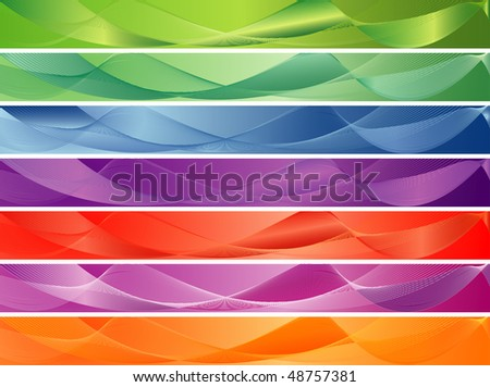 vector blank banners in seven color variations