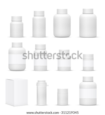 Vector Blank Big Set of Plastic Packaging Bottles with Cap for Cosmetics, Vitamins, Pills or Capsules