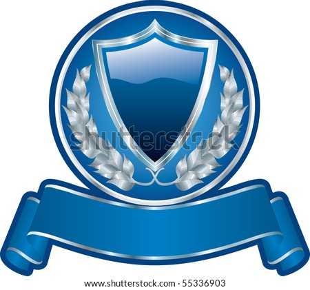 vector blank blue medallion with shield and ribbon