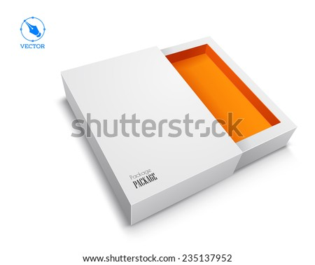 Vector blank box on white background with shadow