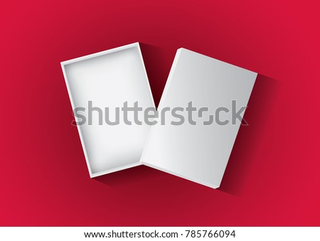 Vector, blank cardboard box rectangular open with cover lid on shadow isolated on red  background, eps10