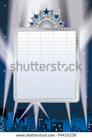 vector blank cinema billboard and spotlights over the city