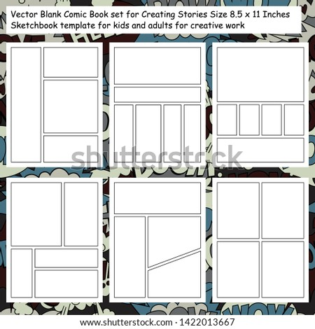 vector blank comic book set for
