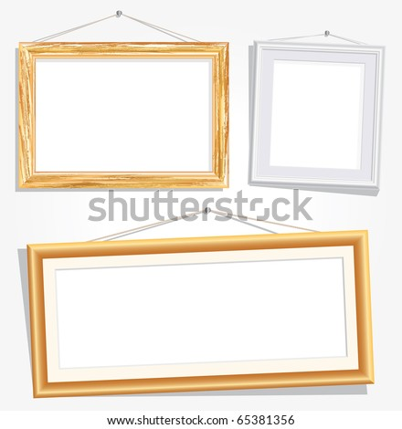 vector blank empty frames on white wall