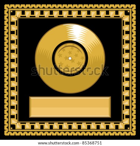 vector blank golden LP disc in the frame