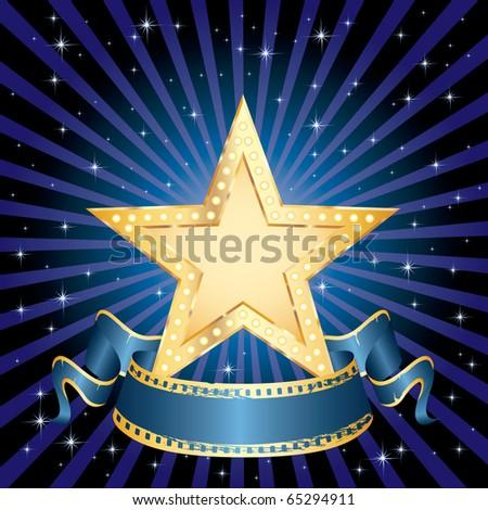 vector blank golden movie star in starry night