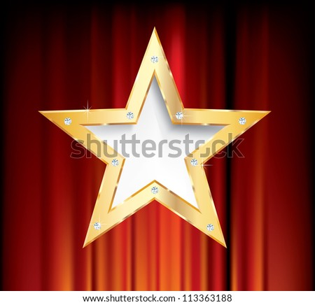 vector blank golden star on red curtain #113363188