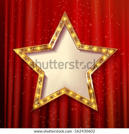 vector blank golden star on red