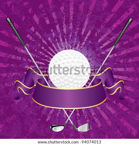vector blank golf award with banner and grunge purple rays