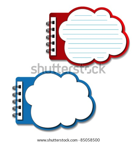 Vector blank lined notebooks - speech bubbles