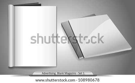 Vector blank magazines. Template for your design. Set 1