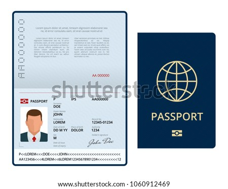 Vector Blank open passport template. International passport with sample personal data page. Document for travel and immigration. Isolated vector illustration.