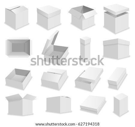 Vector blank packing box on white background. Realistic opened box #627194318
