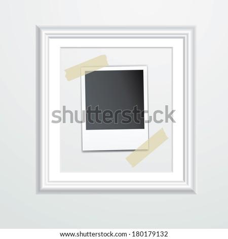 vector blank photo in white frame