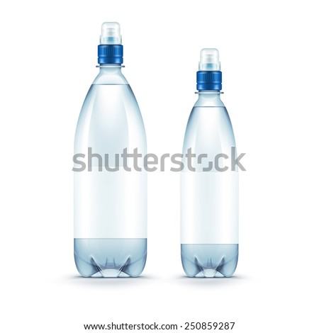 Vector Blank Plastic Blue Water Bottle Isolated on White Background
