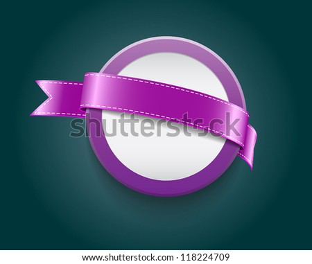 Vector blank plastic round badge / banner decorated with purple ribbon