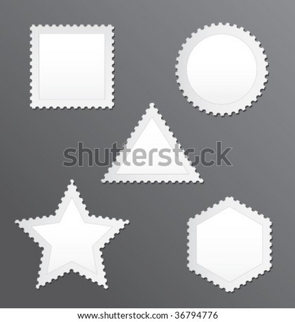 Vector blank postage stamps set on a grey background
