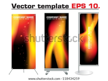 Vector blank roll up banner display with identity template abstract fire background design