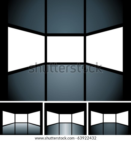 vector blank screens are holes in illustration and you can easily put your images in bottom free layer - stock vector