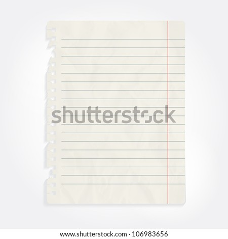 vector blank sheet of crumpled notebook paper