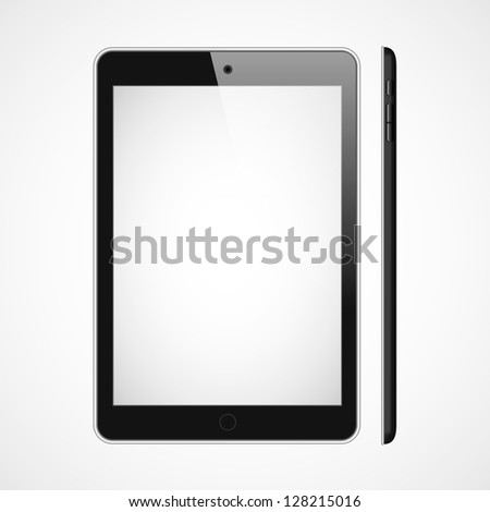 Vector blank tablet on white bakground. Front and right sides.