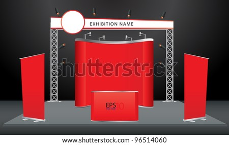 Vector Blank trade exhibition stand with screen, counter, roll-up banner and lights