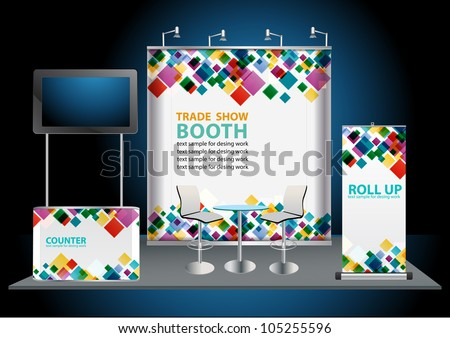 Vector Blank trade exhibition stand with widescreen lcd monitor, counter, chair, roll-up banner and lights with identity background ready for use.