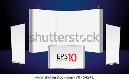 Vector blank trade show booth and roll up banner, counter promotion display